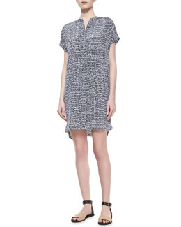 Vince Static-Print Silk Short Dress, Gray
