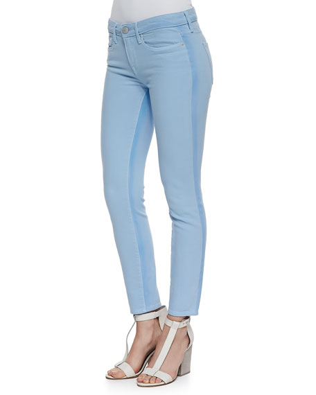 Ghost-Stripe Cropped Skinny Jeans, Chambray