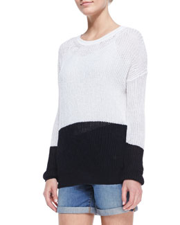 Vince Drop-Shoulder Colorblock Sweater, Optic White/Coastal