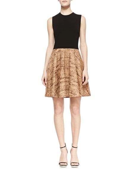 Diane Von Furstenberg Jeannie Sleeveless Contrast Leather Dress Black Simple Cork