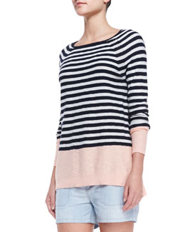 Vince Colorblock Striped Sweater, Grapefruit