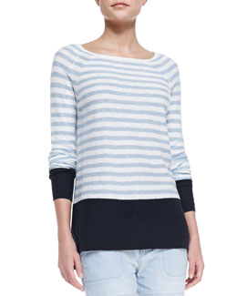 Vince Colorblock Striped Sweater, Coastal