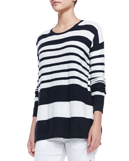 Vince Striped Cotton Knit Sweater, Coastal