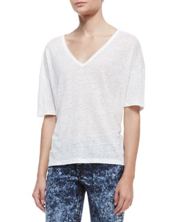 rag & bone/JEAN Mack V-Neck Slub Tee, Snow White