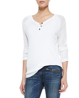 rag & bone/JEAN Bobbi Perforated-Sleeve Henley Top