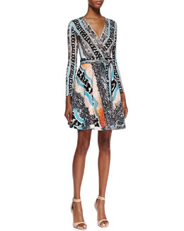 Diane von Furstenberg Amelia Long-Sleeve Snake-Print Dress, Multicolor