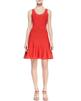 Diane von Furstenberg Perry Sleeveless Fit-and-Flare Dress, Chili Pepper