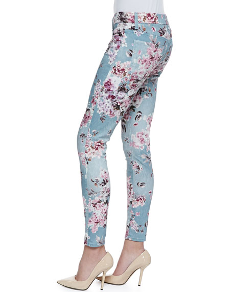 Victorian Floral-Print Skinny-Leg Jeans