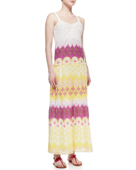 Marny Sweetheart-Neck Long Crinkle Dress, Multicolor
