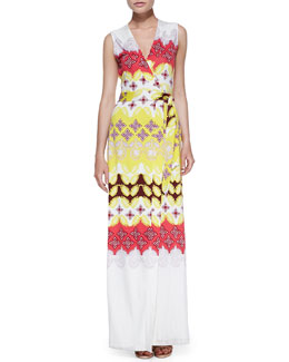 Diane von Furstenberg New Yahzi Border-Print Maxi Wrap Dress