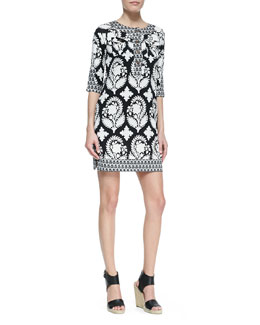 Diane von Furstenberg Eloise Half-Sleeve Floral-Print Silk Mini Dress, Black/White