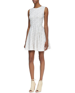 Diane von Furstenberg Jeannie Sleeveless Diamond-Print Cotton Dress, White/Gray