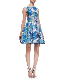 Alice + Olivia Foss Brocade Fit-and-Flare Dress