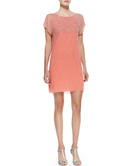 Alice + Olivia Philly Beaded Chiffon Short-Sleeve Dress