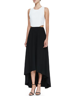 Alice + Olivia Two-Tone Racerback High-Low Maxi Dress