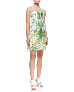 Alice + Olivia Jazz Leaf-Print Strapless Dress