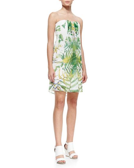 Jazz Leaf-Print Strapless Dress