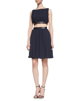 Alice + Olivia Winny Cutout Leather-Trim Dress