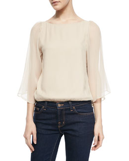 Alice + Olivia Briar Bell Sleeve Boat-Neck Top
