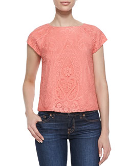 Alice + Olivia Cap-Sleeve Boxy Lace Top