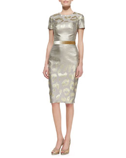 Pamella Roland Short-Sleeve Metallic Leopard-Print Cocktail Dress