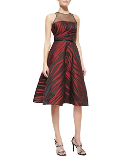 Pamella Roland Sleeveless Animal-Print Midi Dress