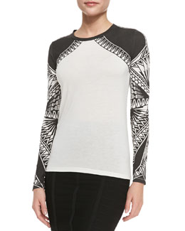Herve Leger Printed Jersey Long-Sleeve Top