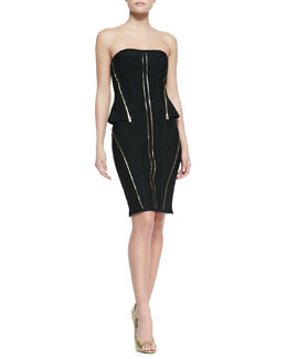 Herve Leger Xandra Bandage Knit Strapless Zipper Dress