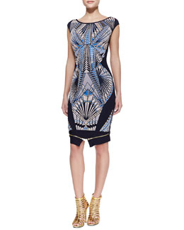 Herve Leger Tabae Jacquard-Print Formfitting Dress