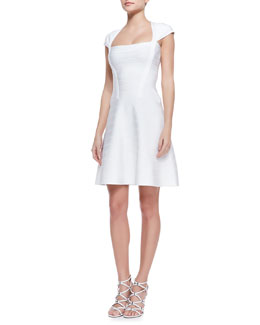 Herve Leger Nahla Banded-Knit Cap-Sleeve Flare Dress