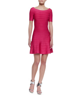 Herve Leger Liza Half-Sleeve Fit & Flare Dress, Rose Red