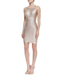 Herve Leger Marina Foiled Dress, Rose Gold Combo