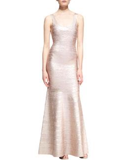 Herve Leger Ellen Foiled-Jersey Scoop-Neck Gown
