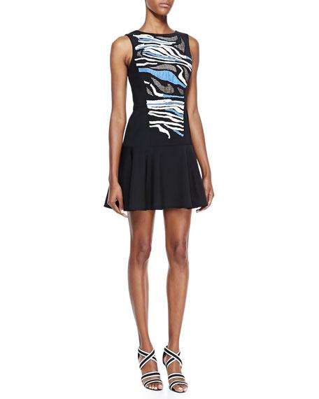 Baja Embroidered-Jersey Back-Cutout Dress