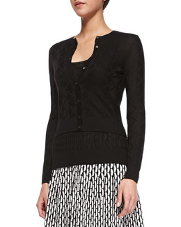 M Missoni Cropped Zigzag Knit Cardigan, Black