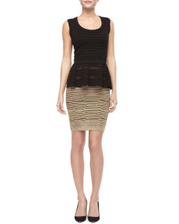 M Missoni Sleeveless Peplum Knit Top