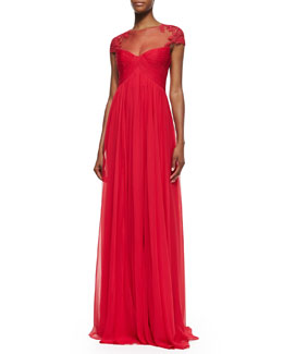 Monique Lhuillier Cap-Sleeve Lace Illusion Gown, Wild Orchid