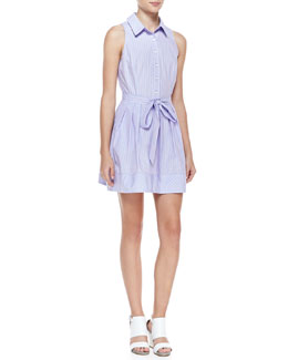 Milly Striped Cotton Tie-Waist Shirtdress