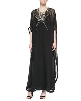 Diane von Furstenberg Clare Beaded Long Caftan Dress, Black