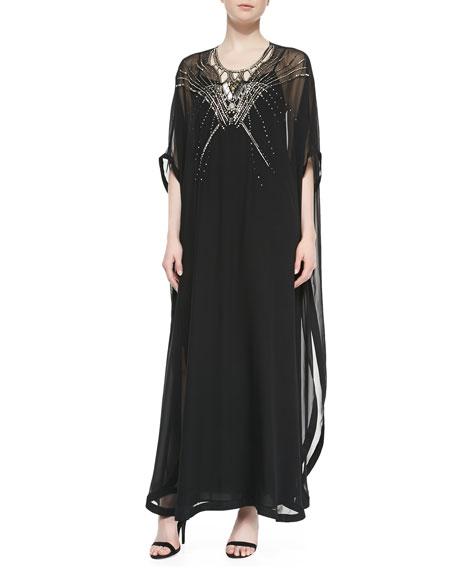 602fb72e73348 Diane von Furstenberg Clare Beaded Long Caftan Dress, Black
