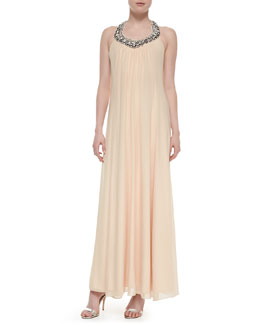 Diane von Furstenberg Willemma Beaded Halter-Neck Gown