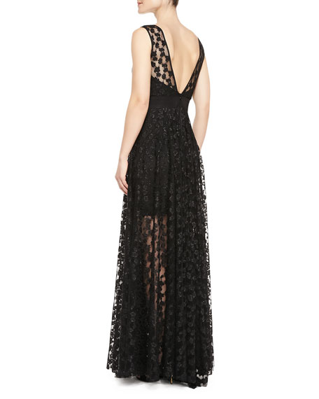 Alexa Lace Illusion Gathered-Skirt Gown
