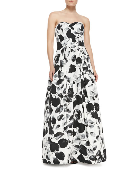Ava Floral-Print Strapless Gown