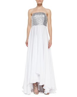 Milly Layne Strapless Sequin Bodice & Georgette Skirt Gown