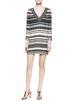 Diane von Furstenberg Ruby Long-Sleeve Banded Dot Dress