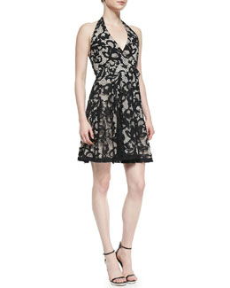 Diane von Furstenberg New Amelia Lace Halter Flare Dress