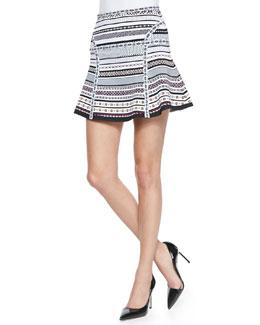 Diane von Furstenberg Flote Banded Dot Flounce Skirt
