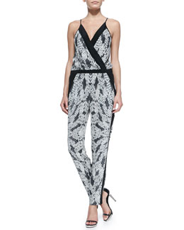 Diane von Furstenberg Shany Panther Lace-Print Jumpsuit