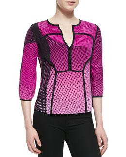 Diane von Furstenberg Kaia Speckle Weave Print Top