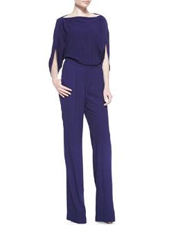 Diane von Furstenberg Dezi Woven Boat-Neck Jumpsuit, Purple Haze